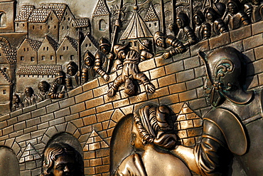 Relief, Saint Nepomuk thrown off the bridge, laying hands on the relief in the bridge is supposed to bring good luck, Charles Bridge, Karluv Most, Prague, Czech Republic, Europe