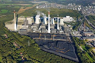 Aerial view, E.ON Kraftwerk Scholven power plant, Gelsenkirchen, Ruhrgebiet region, North Rhine-Westphalia, Germany, Europe