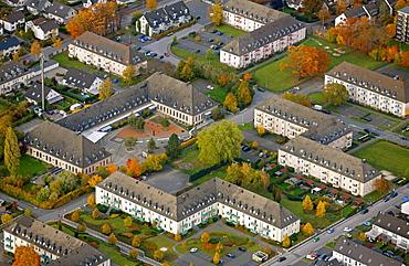 Aerial view, former barracks, Papenbusch, Menden, Maerkischer Kreis county, North Rhine-Westphalia, Germany, Europe