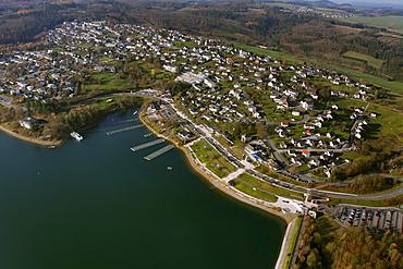 Aerial view, lake promenade, Lake Sorpesee, Langscheid, Sunderland, Sauerland area, North Rhine-Westphalia, Germany, Europe