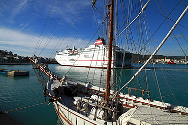 Tall ship, schooner, moored at the Ibiza harbour, modern liner at back, Ibiza, Spain, Europe