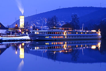 Hassmersheim am Neckar, Neckar river, at night, moored ship Swiss Crystal of Scylla Tours AG shipping company, Baden-Wuerttemberg, Germany, Europe