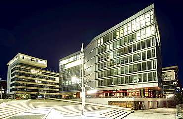 Johannes-Dalmann-Haus building and Am Kaiserkai street in the Hafencity district in Hamburg in the evening, Germany, Europe