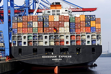 Savannah Express container ship at the Altenwerder Container Terminal in Hamburg, Germany, Europe