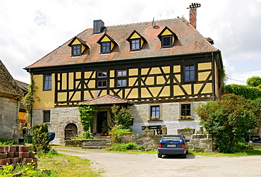 Country house in Gottesgab village, Aischgrund near Hoechstadt, Franconia, Bavaria, Germany, Europe