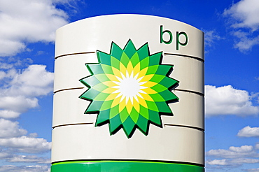 BP sign at a petrol station, United Kingdom, Europe