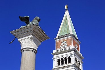 Lion of Saint Mark and Campanile belfry of the Basilica San Marco, Piazza San Marco or St. Mark's Square, Venice, Veneto, Italy, Europe