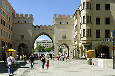 Karlstor gate on Kaufingerstrasse street, Munich, Upper Bavaria, Bavaria, Germany, Europe