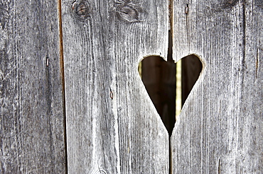 Wooden door with a heart, toilet, toilet door, squat toilet