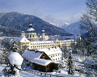 Benedictine Abbey Ettal in front of the Estergebirge range, Upper Bavaria, Germany, Europe