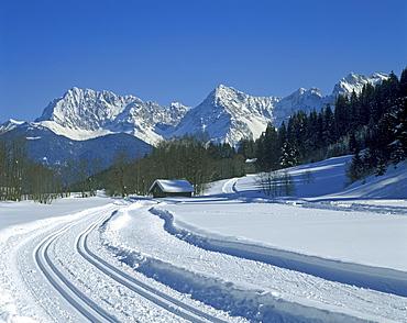 Karwendel mountains seen from the winter meadows near Klais, Bavaria, Germany, Europe
