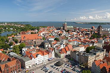 Panorama with Nikolaikirche church and Jakobikirche church, Unesco World Heritage Site, Stralsund, Mecklenburg-Western Pomerania, Germany, Europe