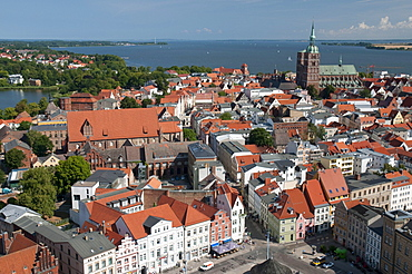 Panorama with Nikolaikirche church, Unesco World Heritage Site, Stralsund, Mecklenburg-Western Pomerania, Germany, Europe