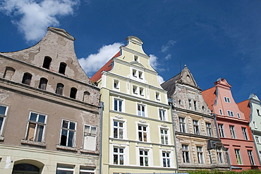 Gabled houses in the Moenchstrasse street, Unesco World Heritage Site, Stralsund, Mecklenburg-Western Pomerania, Germany, Europe