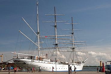 Museum ship Gorch Fock, sailing ship, harbor, Stralsund, Mecklenburg-Western Pomerania, Germany, Europe