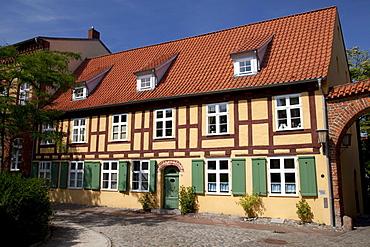 St. John's Abbey, half-timbered houses, Stralsund, UNESCO World Heritage Site, Mecklenburg-Western Pomerania, Germany, Europe