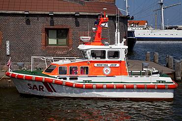 Hertha Jeep, rescue boat, lifeboat, port, Stralsund, Mecklenburg-Western Pomerania, Germany, Europe