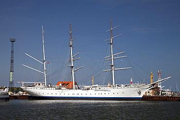 Gorch Fock, sailing ship, former training ship, now a museum ship, port, Stralsund, UNESCO World Heritage Site, Mecklenburg-Western Pomerania, Germany, Europe