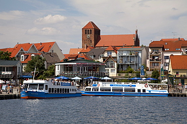 St. George's Church and the port of the climatic health-resort of Waren on Lake Mueritz, Mecklenburg Lake District, Mecklenburg-Western Pomerania, Germany, Europe