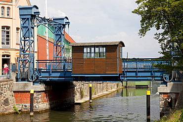 Vertical lift bridge, technical monument, Plau am See, Mecklenburg Lake District, Mecklenburg-Western Pomerania, Germany, Europe