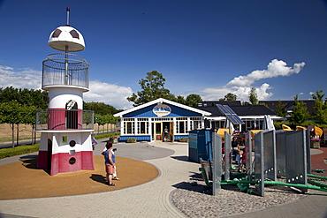 Playground, Vis-A-vis family restaurant, Baltic Sea spa of Zingst, Fischland Darss Zingst peninsula, Mecklenburg-Western Pomerania, Germany, Europe