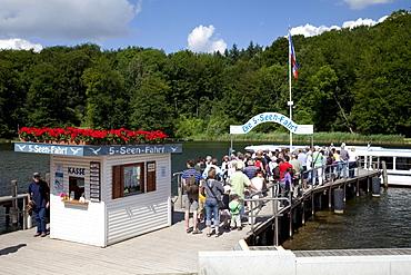 Pier on Lake Dieksee, 5-lake trip, Bad Malente-Gremsmuehlen, Naturpark Holsteinische Schweiz nature park, Schleswig-Holstein, Germany, Europe
