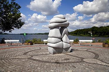 """Sculpture """"Kindertor"""" by Jesper Neergaard, Bad Malente-Gremsmuehlen, Naturpark Holsteinische Schweiz nature park, Schleswig-Holstein, Germany, Europe"""