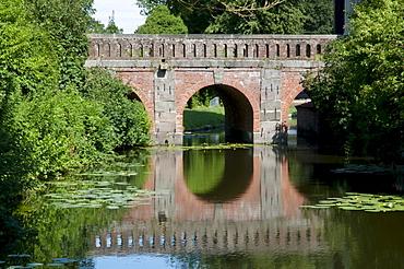 Arched bridge in the castle gardens, Eutin, Naturpark Holsteinische Schweiz nature park, Schleswig-Holstein, Germany, Europe