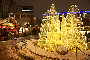 Christmas market at Kennedy Square, Essen, Ruhr Area, North Rhine-Westphalia, Germany, Europe