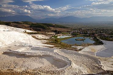 Travertine terraces of Pamukkale, UNESCO World Heritage Site, Denizli, Turkey, Asia