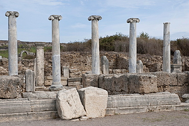 Ancient market place, Perga, a large site of ancient ruins, Antalya, Turkish Riviera, Turkey, Asia