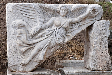 Stone carving, ancient archaeological site of Ephesus, Selcuk, Lycia, Turkey, Asia