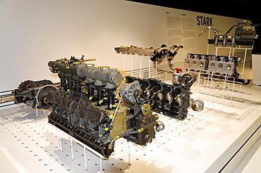 The twelve-cylinder turbo engine of the Porsche 917-30, 1200 hp, Porsche Museum, Stuttgart, Baden-Wuerttemberg, Germany, Europe