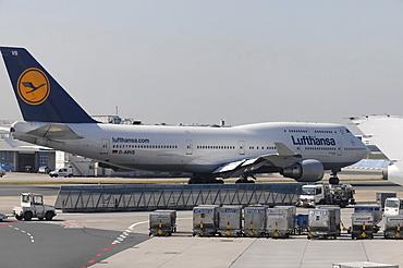 Boeing 747-400 Saarland just before takeoff, Frankfurt Airport, Frankfurt am Main, Hesse, Germany, Europe