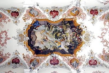 Interior, ceiling fresco, Augustine Protestant Church, Schwaebisch Gmuend, Baden-Wuerttemberg, Germany, Europe