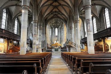 Interior, Protestant Parish Church of St. Michael, Schwaebisch Hall, Baden-Wuerttemberg, Germany, Europe