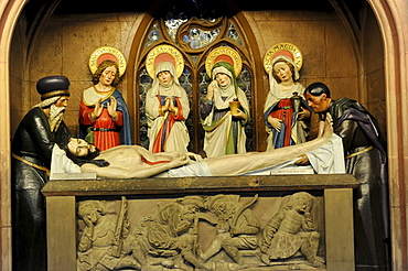 Holy figures, Christian representation, side altar, Protestant Parish Church of St. Michael, Schwaebisch Hall, Baden-Wuerttemberg, Germany, Europe