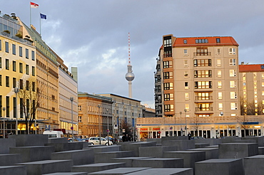 Memorial to the Murdered Jews of Europe, Holocaust memorial, Fernsehturm television tower at the back, Berlin, Germany, Europe