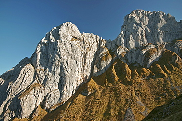 Peaks of the Kreuzberge Mountains in the Alpstein Massif in the evening light, Canton Appenzell, Switzerland, Europe