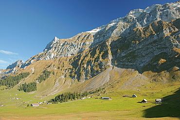 Panorama of the Alpstein massif, Saentis massif, Chammhalde, Canton Appenzell, Switzerland, Europe