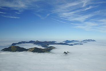 Peaks of the Entlebuch above a layer of fog, viewed from Mt Brienzer Rothorn, Canton Bern, Switzerland, Europe