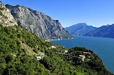 View from Tremosine down to Limone sul Garda, Lake Garda, Lombardia, Italy, Europe