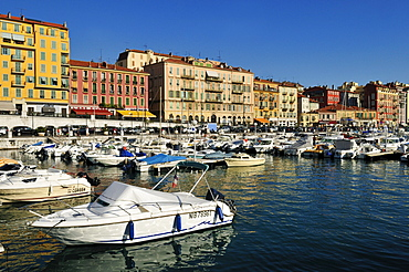 Boats in the harbour of Nice, Nizza, Cote d'Azur, Alpes Maritimes, Provence, France, Europe