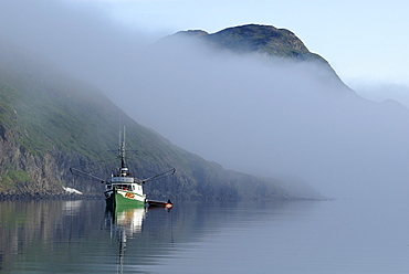 Longliner, trawler, fishing boat at Saglek Fjord, Torngat Mountains National Park, Newfoundland and Labrador, Canada