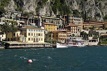 Historic paddlewheeler in Limone sul Garda, Lake Garda, Lombardia, Italy, Europe