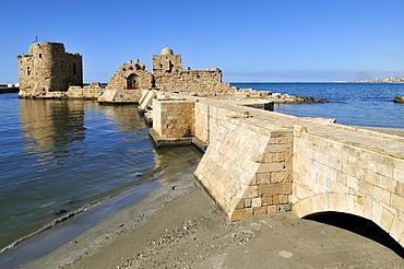 Historic Crusader castle at Sidon, Saida, Lebanon, Middle East, West Asia