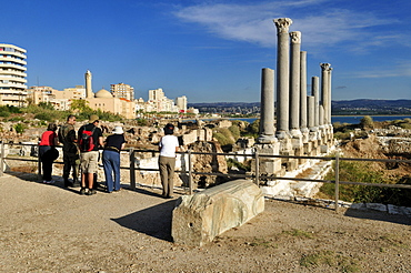 Tourists in the ancient archeological site of Tyros, Tyre, Sour, Unesco World Heritage Site, Lebanon, Middle east, West Asia