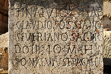 Roman inscription on a antique stele at the archeological site of Baalbek, Unesco World Heritage Site, Bekaa Valley, Lebanon, Middle East, West Asia