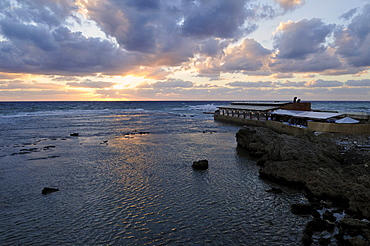 Sunset on the mediterranean coast at Byblos, Unesco World Heritage Site, Jbail, Jbeil, Lebanon, Middle East, West Asia
