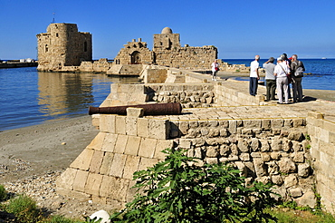 Tourists at the historic Crusader castle at Sidon, Saida, Lebanon, Middle East, West Asia